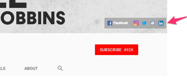 YouTube provides you with the ability to add your social networking links to your channel header.